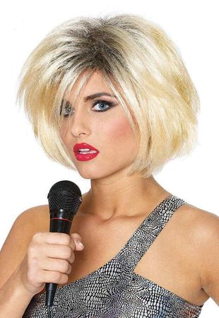 Deluxe 80's Diva Blonde With Black Roots Wig
