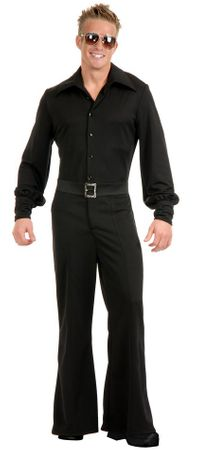 Deluxe Adult Black 70's Bell Bottom Studio Jumpsuit