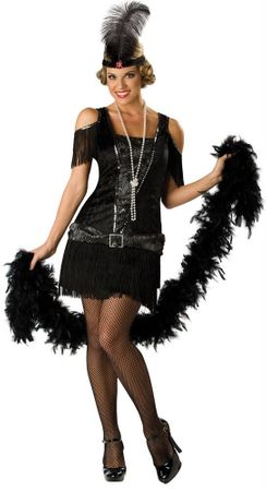 Deluxe Adult Black Fabulous Flapper Costume