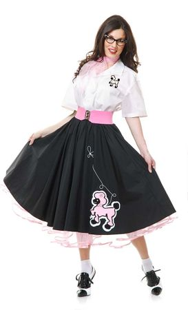 Deluxe Adult Black Poodle Skirt and Shirt Costume Set