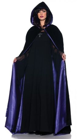 Deluxe Adult Black/Purple Velvet Hooded Cape