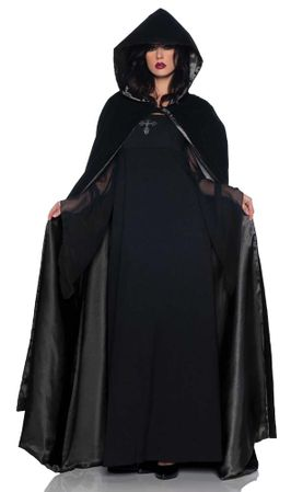 Deluxe Adult Black Velvet Hooded Cape