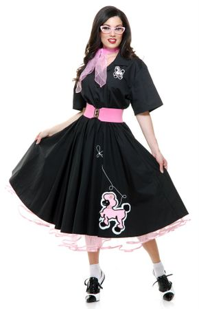 Deluxe Adult Complete Black Poodle Skirt and Shirt Costume Set