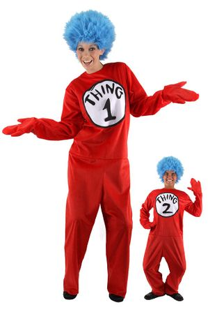 Deluxe Adult Dr. Seuss Thing 1 or 2 Costume