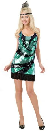 Deluxe Adult Jade Sequin Flapper Costume