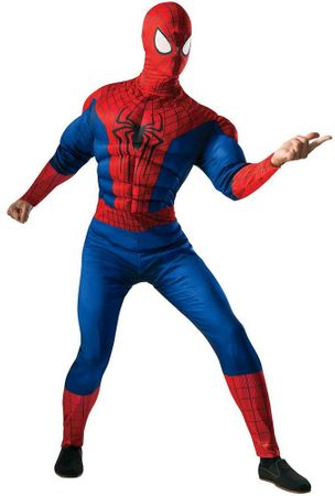 Deluxe Adult Muscle Chest Spider-man Costume, Size XL