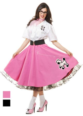 Deluxe Adult Complete  Poodle Skirt and Shirt Costume Set