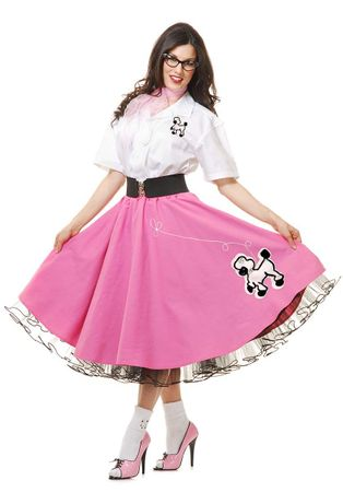 Deluxe Adult Pink Poodle Skirt and Shirt Costume Set