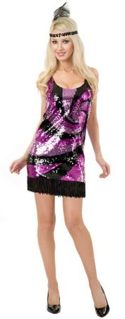 Deluxe Adult Purple Sequin Flapper Costume