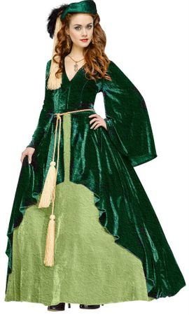 Deluxe Adult Scarlett O'Hara Green Drapery Gown Costume