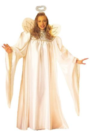 Deluxe Adult White/Gold Angel Robe With Halo