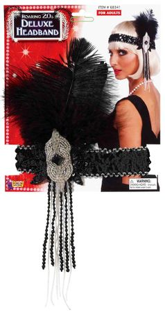 Deluxe Black Beaded Flapper Headband With Feather