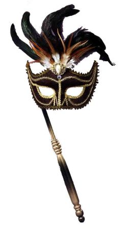 Deluxe Black Feathered Venetian Mask With Stick