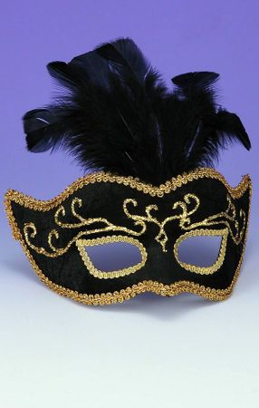 Deluxe Black/Gold Venetian Mask With Feathers
