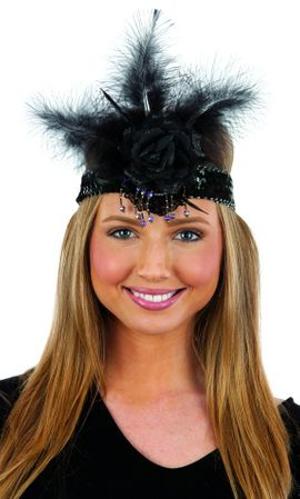 Deluxe Black Sequin Headband with Rose and Feathers