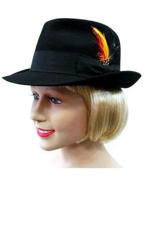 Deluxe Black Wool Fedora with Feather, Size Large