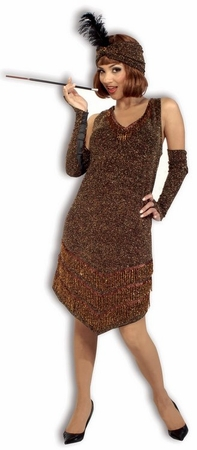 Deluxe Brown/Gold Flapper Costume