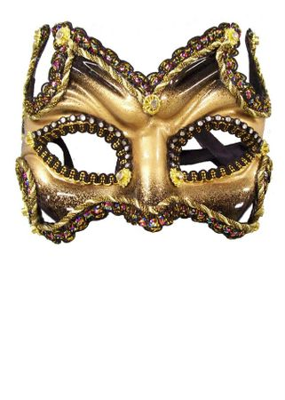 Deluxe Gold/Black Venetian Mask With Multi-Colored Trim