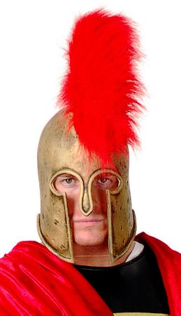 Deluxe Gold Roman Helmet With Red Plume