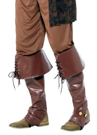 Deluxe Brown Vinyl Colonial Pirate Boot Covers