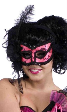 Deluxe Pink/Black Lace Burlesque Mask