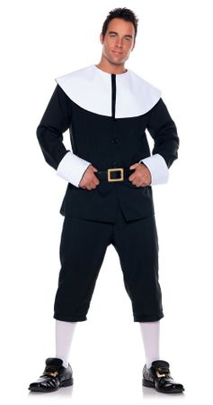 Deluxe Plus Size Adult Men's Pilgrim Costume