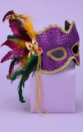 Deluxe Purple Sequin Venetian Mask With Feathers