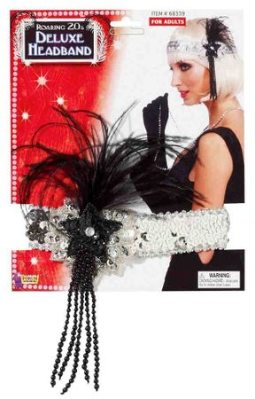 Deluxe Silver Beaded Flapper Headband With Feather