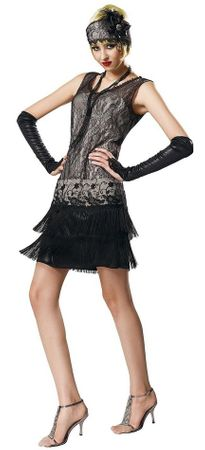 Deluxe Women's Black Lace 20's Flapper Costume