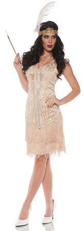 Deluxe Women's Champagne Rose Flapper Costume