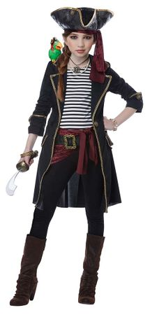 Girls' High Seas Captain Pirate Costume With Parrot