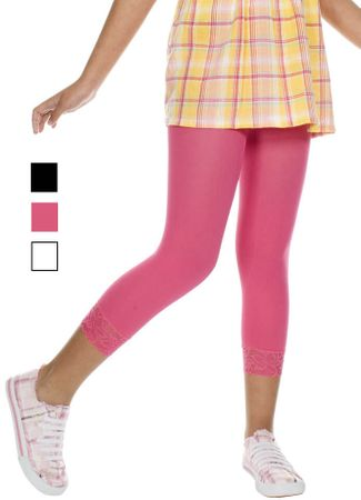 Girls' Opaque Footless Tights With Lace Trim