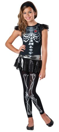 Girls'/Tween Skeleton Bling Costume