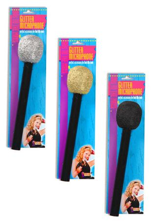 Glitter Microphone - Silver, Gold or Black