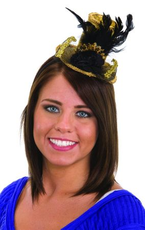 Gold/Black Mini Top Hat Headband With Feathers