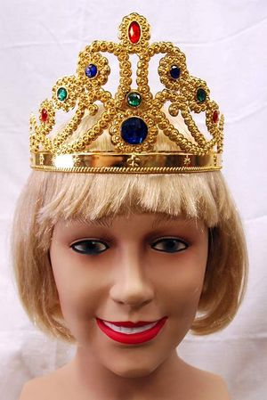 Adjustable Plastic Queen Crown - Gold or Silver