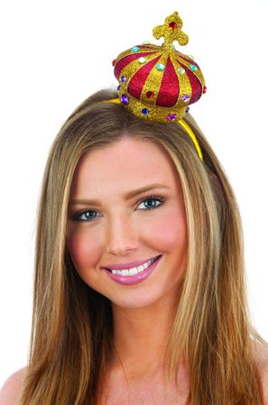 Gold/Red Glitter Mini Jeweled Queen Crown Headband