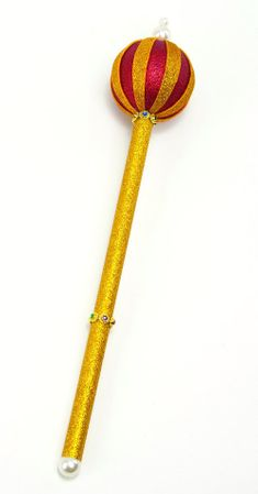 Gold/Red Glitter Royal Scepter With Pearls