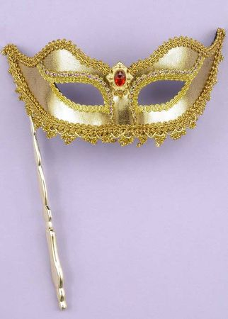 Gold Venetian Mask With Stick