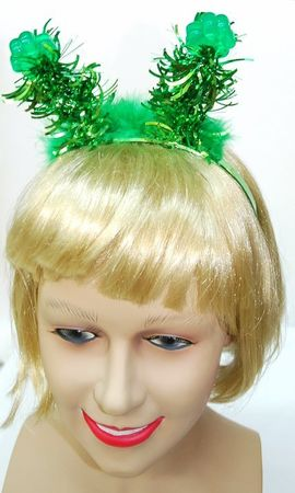 Green Shamrock Tinsel Bopper Headband