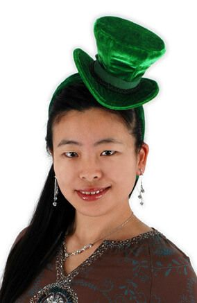 Green Velvet Cocktail Top Hat Headband