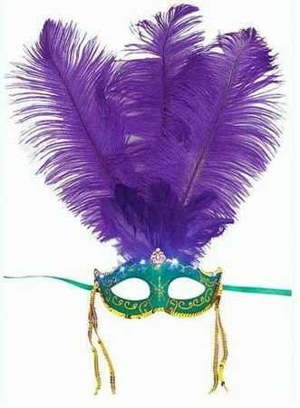 Green Venetian Mask with Purple Feathers