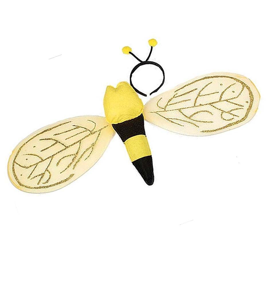 Bee Bumblebee Wings Black Yellow Adult Costume Accessory NEW