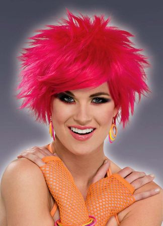 Hot Pink 80's Pixie Wig