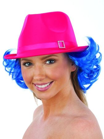 Hot Pink Satin Fedora Hat With Blue Wig