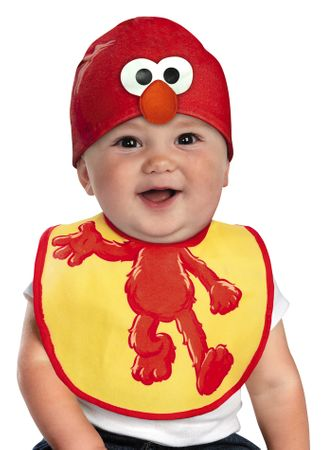 Infant Sesame Street Elmo Bib  Hat