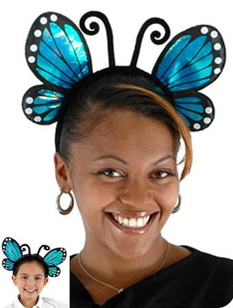 Iridescent Blue Butterfly Headband