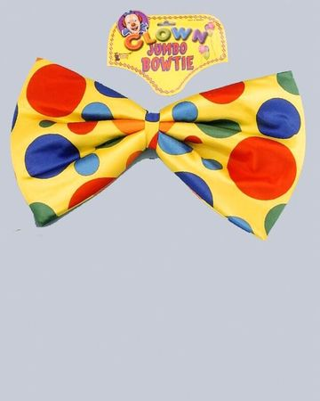 Jumbo Yellow Polka Dot Clown Bowtie