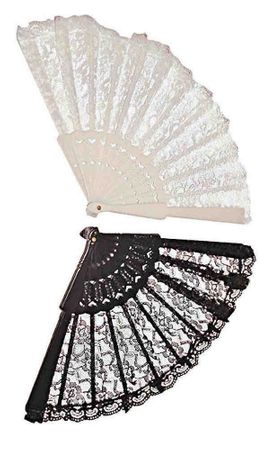 Lace Fan - Black , White, Red, or Pink