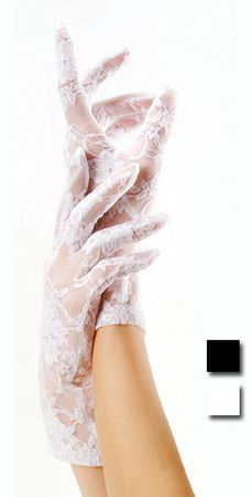Lace Wrist Length Gloves - Black or White
